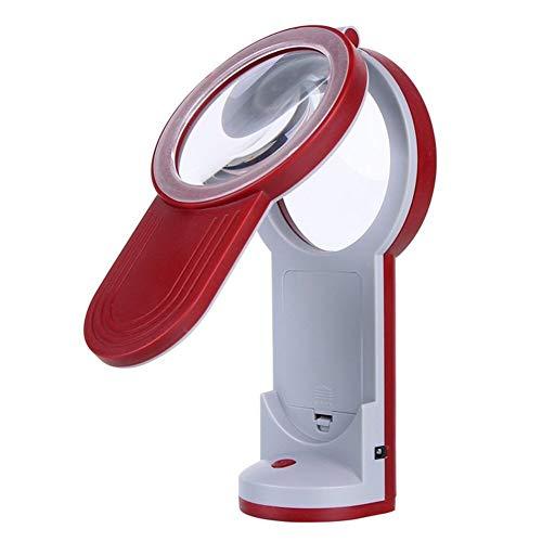 Lupa de mano LED de escritorio de mano con iluminación Ual, soporte de carga de vidrio con lámpara lupa de 10 x 20 x 30 x lupa personal multipropósito