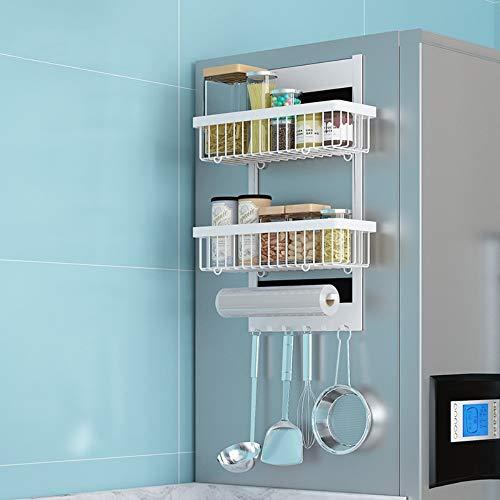 Lzcaure Estante lateral para frigorífico, barra de dientes con 6 ganchos, organizador de botellas, para uso privado, cocina, cuarto de baño, organizador de frigorífico