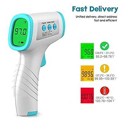 Thermometer Adults, Infrared Digital Forehead Thermometer Non-Contact Digital Thermometer with Fever Alert Function, Forehead Thermometer for Baby and Adult