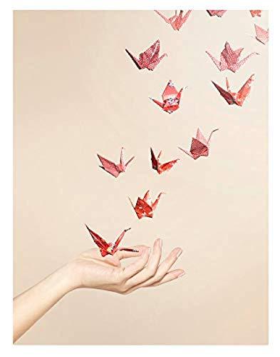 Kits de punto de cruz estampado 11CT para principiantes Conjunto de flamencos de origami patrón preimpreso, artesanía de punto de aguja de tela,16x20 pulgadas