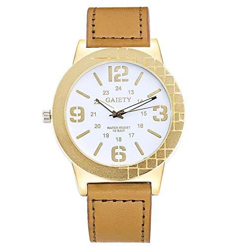 GAIETY Reloj de pulsera simple para hombre, esfera clásica y elegante, pantalla de 24 horas, 4 colores, cómoda correa de PU, reloj de pulsera de cuarzo analógico