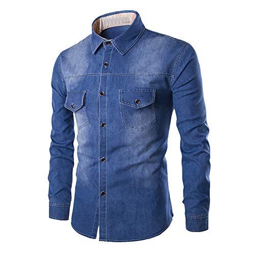 SFYZY Camisa Vaquera para Hombre Botón Casual Manga Larga Chaqueta Vaquera de Gran tamaño Occidental Cofre Doble Bolsillo Camisa Delgada de Manga Larga