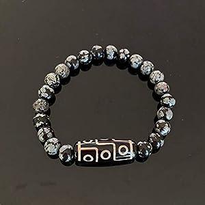 Retro Natürliche Tibetische Dzi-Achtes Armbänder Buddha Nine-Eyed Quarz Amazonite Tiger Eye Black Lava Stein Armbänder Frauen-8Mm Schneeflocke.