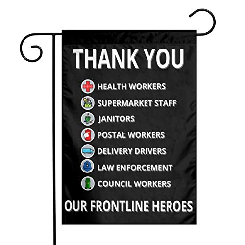 Larerh Thank You Essential Key Workers Frontline Heroes Garden Flag 12x18 Inch Durable and Fade Resistant,Perfect for Any Balcony Or Courtyard, Garden Decorative Banner