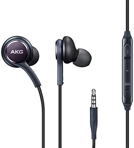 (2 Packs) Earbuds/Earphones/Stereo Headphones for Samsung Galaxy S10/S9/S8/S7/S6/S5/Note 5/6/7/8/9 and More Android Devices - Designed by AKG - with Microphone and Volume Buttons.(Black)