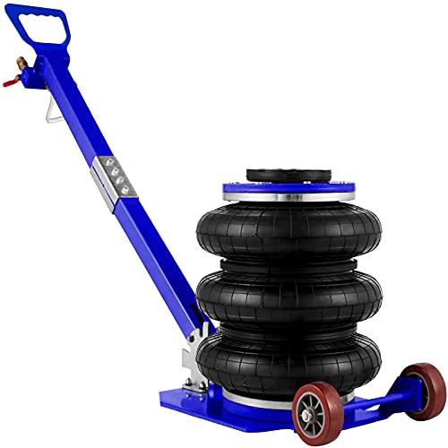 VEVOR Gato Neumático de Aire con Capacidad de 3 T, Gato de Aire para Coche Altura 150-400 mm, Gato Neumático Taller con Mango, Triple Bolsa de Gato Neumático, Gato Neumático para Automóviles (Azul)