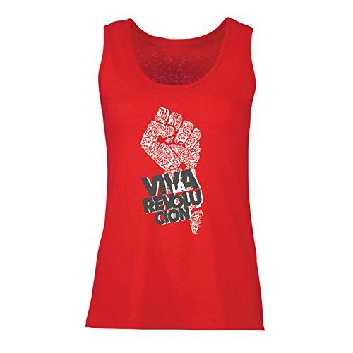 lepni.me Camisetas sin Mangas para Mujer Viva La Revolución Protesta Política Derechos Civiles Libertad y Justicia (Small Rojo Multicolor)