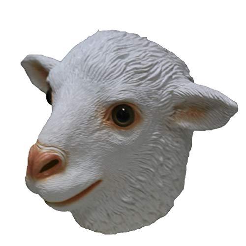 Divertida mscara de ltex blanca de cabeza de oveja, para Navidad, Halloween, decoracin de fiesta, accesorio de lmpara de disfraz