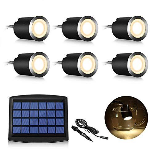 Martll LED Solar Einbaustrahler, 6er Set LED Einbauleuchten IP67 Wasserdicht LED Außenbeleuchtung,Badestrahler,Deckenstrahler für Garten, Hofstufen, Treppe, Terrasse, Boden (Warmes Weiß Neu)