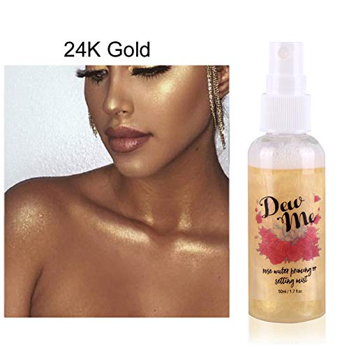 Oyalaiy Body Highlighter Makeup Setting Spray Rose Water Priming Moisturizing Pearlescent Liquid Metall Highlighter A02