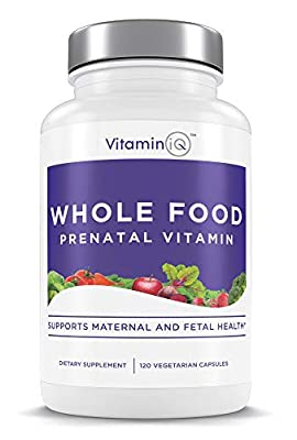 VitaminIQ Whole Food Prenatal Vitamins, Natural Supplement Support for Maternal & Fetal Health, Healthy Baby, Healthy Mom, Non-GMO, Vegetarian, Gluten Free, 120 Capsules