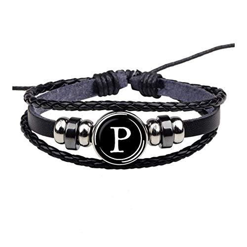 Regalos 26 Personalidad cartas pulsera del nombre del equipo de cuerda pulsera Negro Botón de la pulsera de cuero hombres del brazalete de las mujeres de moda de cumpleaños Accesorios ( Color : P )