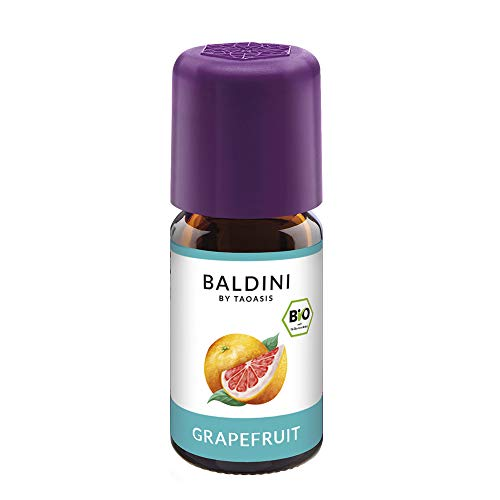 Baldini Bio Grapefruitöl, 100{30401536e3bf357238f604edadaf28e7888bd1e4a838f422b7202d4b3909f46e} naturreines, ätherisches Grapefruit Öl Bio, Bio Aroma, 5 ml