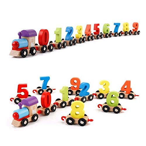 FunBlast Wooden Digital Colourful Number Train – Educational Toys for 2 Year Old , Vehicle Pattern 0 to 9 Number Learning, Learning Toys for Kids – (Multicolor)