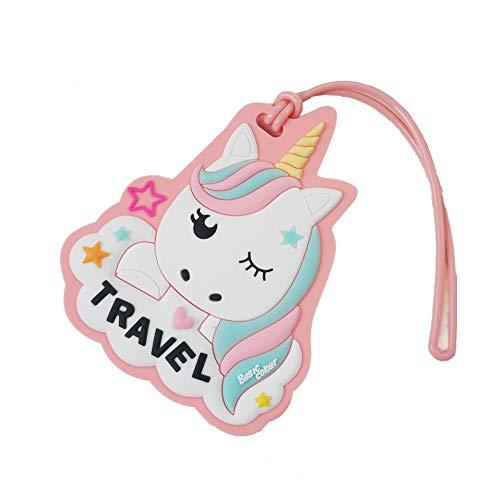 Carino Unicorno Etichette Per Bambini Donne Bambine Viaggi Bagaglio Tag Valigia Carta ID Label (Colore Rosa)