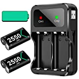 Rechargeable Battery Pack for Xbox One/Xbox Series X|S, 2x2550mAh Rechargeable Batteries and Fast Battery Charger Station Accessories Kit for Xbox One/One S/One X/Elite Wireless Controller