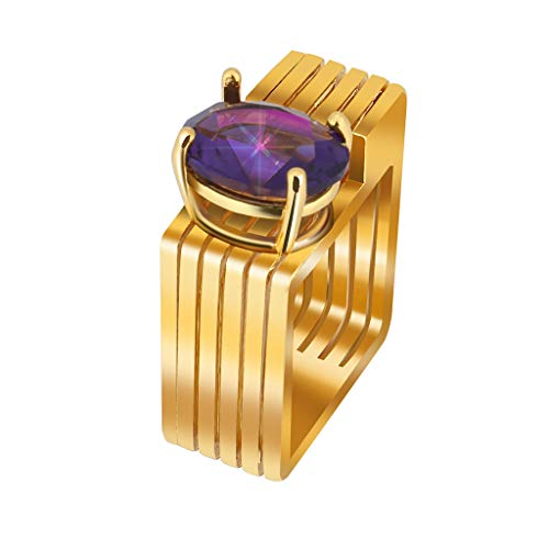 Allywit Ring for Her Engagement Rings for Women Geometric Square Birthstone Rings Gold Purple Plated Wedding Bands for Lady Girl (8, Gold) Photo #4