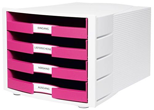 HAN Schreibtisch-Schubladenbox IMPULS – Stapelbare Sortierablage mit 4 großen Schubladen für DIN A4/C4 inkl. Beschriftungsschilder – 29,4 x 36,8 x 23,5 cm (BxTxH) – Pink/Weiß