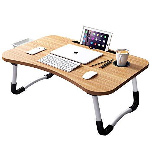 Uclet Escritorio plegable para ordenador portátil, portátil, mesa multifunción, bandeja de comedor, soporte con ranura para cajón y soporte para taza para cama, sofá o suelo