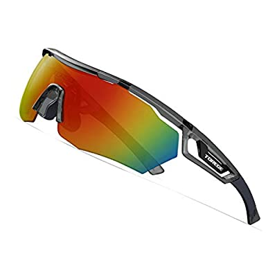 TOREGE Polarized Sports Sunglasses with 3 Interchangeable Lenes for Men Women Cycling Running Driving Fishing Golf Baseball Glasses TR05 (C5 BMW Grey)