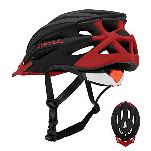 GOLD CARP Casco da bicicletta per adulti Urban con visiera rimovibile,imbottitura lavabile,EPS leggera,25 aperture di ventilazione, mountain bike,bici da corsa, certificazione CE, unisex 55-61cm