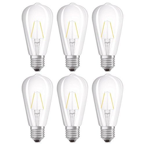 Osram Lot de 6 Ampoules LED à Filament - Forme Edison - Culot E27 - Blanc Chaud 2700K - 2W (Équivalent 25W)