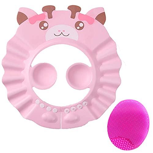 FSYIOU Gorro De Ducha Bebé, Ajustable Impermeable Champú Caps Shield, Protección para Niños Sombrero De Orejera para El Cuidado del Bebé para Niños Pequeños,Pink