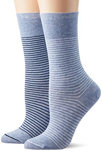 ESPRIT Damen Socken Fine Stripe 2er Pack - Baumwollmischung, 2 Paar, Blau (Light Denim 6668), Größe: 39-42