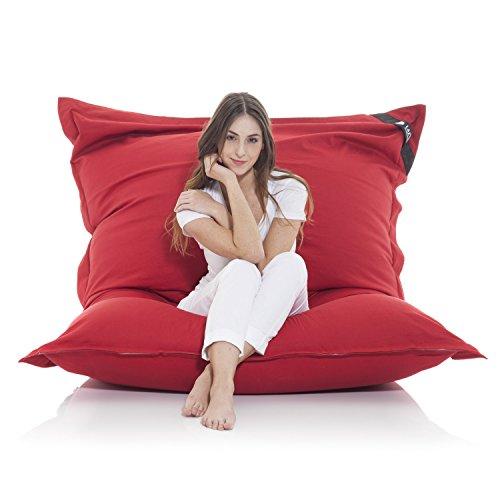 Poltrona a sacco gigante XXL Beanbag grande coperta in cotone 400L bean bag gigante cuscino per sedia per bambini e adulti 180 x 140 cm (Cotone, Rosso)