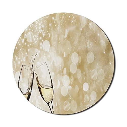 Champagner-Mauspad für Computer, klirrende Gläser auf einem Bokeh-Effekt Inspirierter Hintergrund Geben Sie einen Toast, rundes, rutschfestes, dickes, modernes Gaming-Mousepad aus Gummi, 8 'rund, hell
