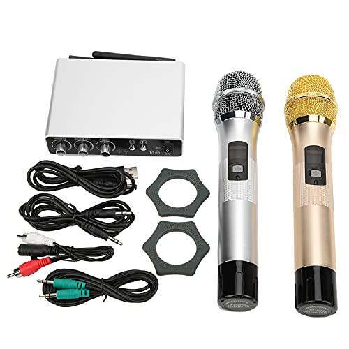 GAESHOW Juego de micrófonos Dispositivo de grabación de Canto de Volumen Ajustable de Dos Canales con Cable de Mano K28 Gold