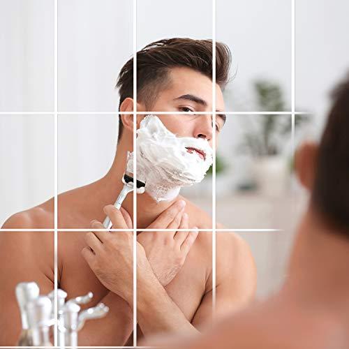 Motarto 24 Pack Mirror Wall Stickers Mirror Sheets Flexible Non Glass Mirror Removable Acrylic Mirror Tiles for Home Decor (24, 6 x 9 inches)