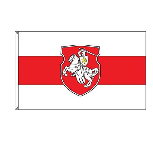 Weißrussland Original Pagonya Flagge Weißer Ritter Pferdefahne Banner Weiß Rot Weiß Flagge Weißrussland Freiheit Pagonia Wappen Symbol 1991 für Home Office Dekoration