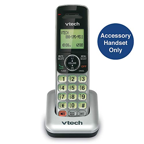 VTech CS6409 Accessory Cordless Handset, Silver/Black | Requires a VTech CS6419, CS6428, or CS6429 Series Expandable Phone System to Operate