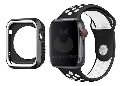 Kit Pulseira Capa Case Silicone Furos Preto Branco, compatível com Apple Watch 42mm Pulso Pequeno