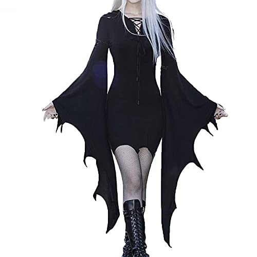 LOPILY Oberteile Damen Fledermaus Vintage Bluse mit Rüschen Ärmel Mittelalter Kostüme Damen Schulterfreie Blusentops Halloween Kostüm Damen Sexy Vampir Gothic Bekleidung Kanerval