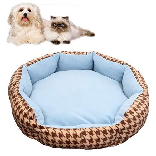 JOOFFF Duradero Canastas Perros Mullida,Cómoda Cama Mascota Gatos Pequeños,Cama Ortopédica Perros Almohada Reversible-Azul L