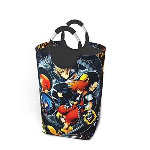 Kingdom Hearts - Bolsa de lavandería cuadrada, impresión de doble cara, hecha de tela Oxford resistente, resistente al desgaste, impermeable, gran capacidad 50 l