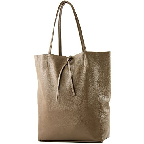 modamoda de - T163 - Ital. Shopper Large mit Innentasche aus Leder, Farbe:Blassbraun