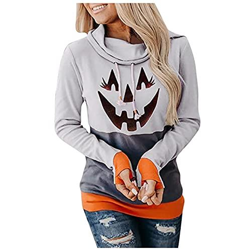 Halloween Sudaderas Mujer con Capucha Estampadas Cabeza de Calabaza Camisetas Manga Larga Mujer Elegantes...