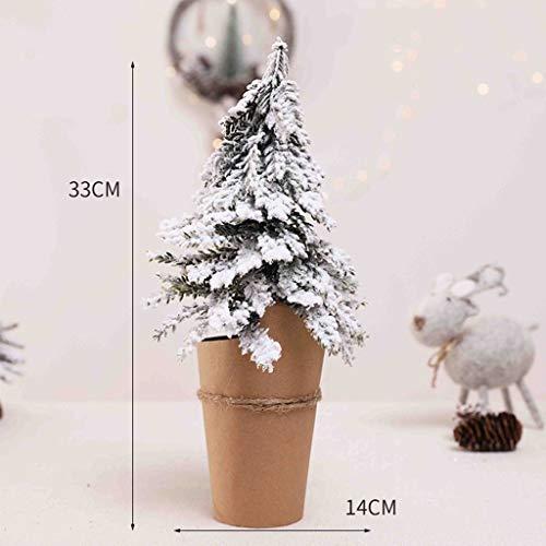 duquanxinquan Mini-Weihnachtsbaum Künstlicher Weihnachtsbaum Christbaum 27/33/40/50cm Weihnachts Deko Künstlicher mit Schnee Kiefernnadeln Klein Tannenbaum Grün Weiss Christbaum grüner Stamm (33*14cm)