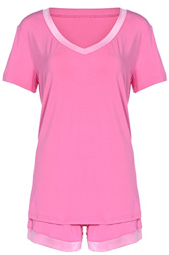 Latuza Women's V-Neck Sleepwear Short Sleeve Pajama Set S Rose