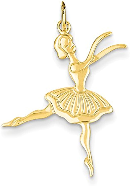 Diamond2Deal 14k Yellow gold Satin Polished Ballerina Pendant