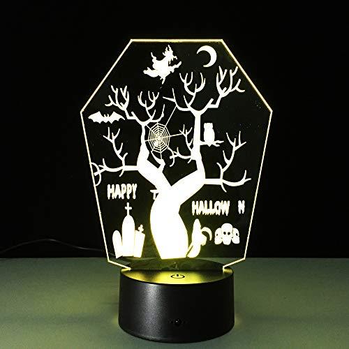 Illusion 3D lampe 7 couleur changeante acrylique nuit de lumière LED art sculpture salle décoration chargeur USB,cool jouets anniversaire,vacances,Saint Valentin,arbre coloré de Halloween