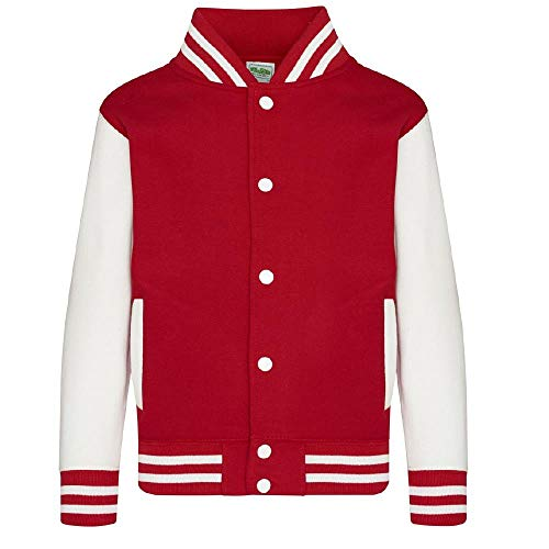 Felpa Baseball Varsity Jacket Giacca College Personalizzabile PS 36017 (12/13 Anni, Fire Red/White)