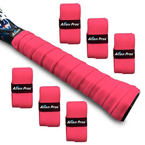 Alien Pros Cintas de Agarre para Raquetas de Tenis, Paquete de 6 Cintas Pre Cortadas de Color Rosa, Tacto Seco y Sujeción Firme para Empuñaduras de Raqueta (Rojo)