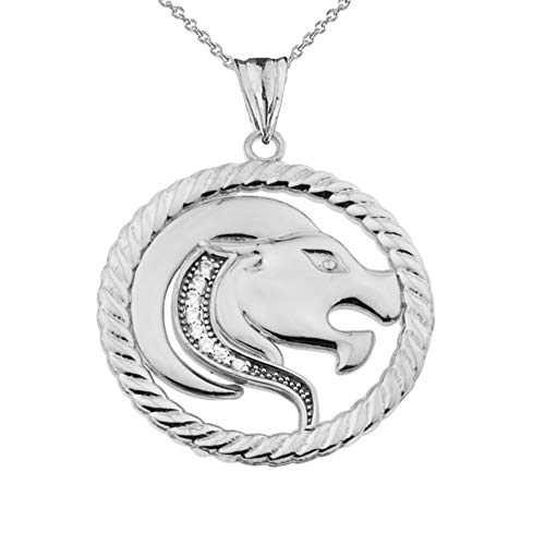 Diamond Leo Zodiac in Rope Pendant Necklace Necklace in 9 ct White Gold (Available Chain Length 16'- 18'- 20'- 22') D
