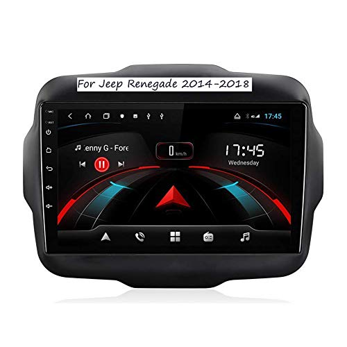 Android 9.0 Sat Nav Double Din GPS Navigation 9 Inch Touchscreen Car Stereo Head Unit Support WiFi Bluetooth Online/Offline Map Video Receiver for Jeep Renegade 2014-2018,8cores1+16G