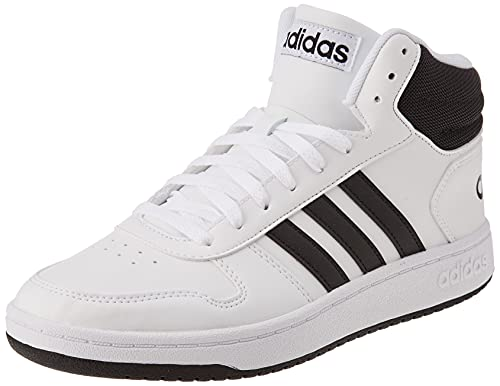 adidas Herren Hoops 2.0 Mid Sneaker, Cloud White/Core Black/Core Black, 42 2/3 EU