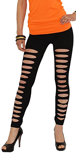 ESRA Damen Leggings Leggins Damen Legings Hose mit Rissen Schlitz Leggings Sale Angebot L13